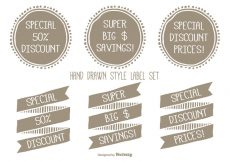 Free vector Hand Drawn Style Discount Label Set #19784