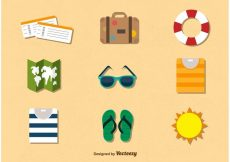 Free vector Summer Holidays travel colour icons #20566