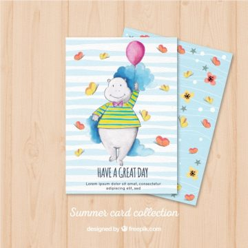 Free vector Watercolor card with hippopotamus and globe #22663