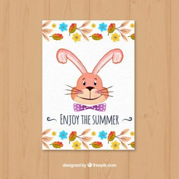 Free vector Watercolor card with rabbit and flowers #22667
