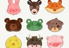 Free vector Watercolor collection of cute animal faces #19075
