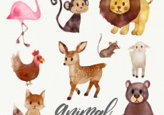Free vector Watercolor collection of wild animals #19071