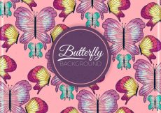 Free vector Watercolor hand drawn butterflies background #19785
