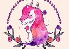 Free vector Watercolor unicorn background with floral wreath #19627