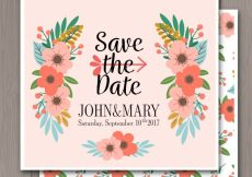 Free vector Wedding invitation with cute flowers and leaves #21386