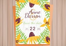 Free vector Wedding invitation with tropical flowers #22429