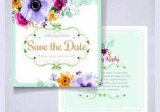 Free vector Wedding invitation with watercolor flowers #21924