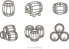 Free vector Whiskey Barrel Outline Icons Vector #23000