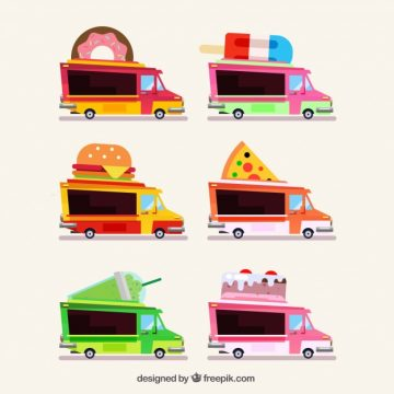 Free vector Classic variety of flat food trucks #23870