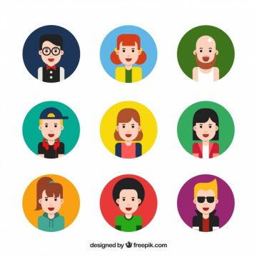 Free vector Collection of colorful avatar for men and women #24363