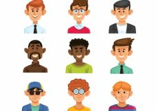 Free vector Collection of hand drawn male avatar #24373