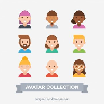 Free vector Collection of young avatars in flat design #24359