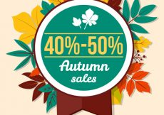 Free vector Colorful autumn sale badge with leaves #23596