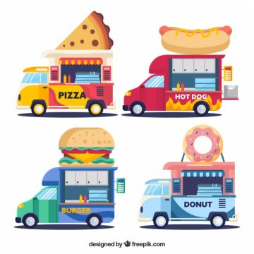Free vector Colorful pack of flat food trucks #23866