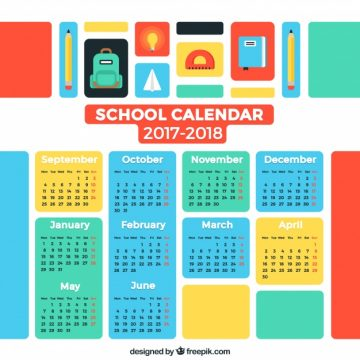 Free vector Colorful school calendar 2017-2018 #24401