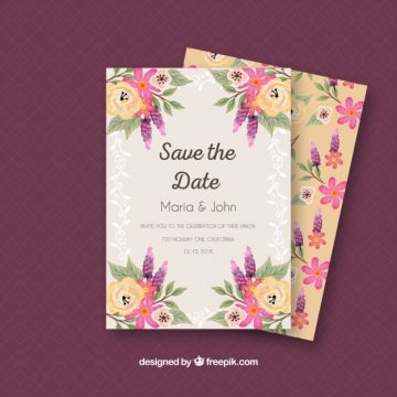 Free vector Colorful wedding invitation with watercolor flowers #23924