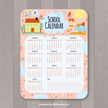 Free vector Cute school calendar #24417