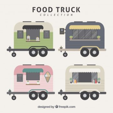 Free vector Flat food trucks with vintage style #23844