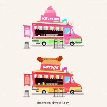Free vector Food trucks wtih ice creams and hot dogs #23868