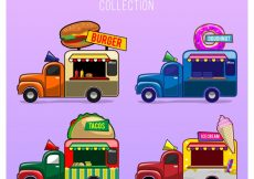 Free vector Fun food truck pack with hand drawn style #23838