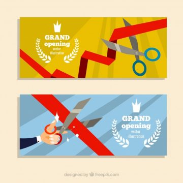 Free vector Fun inauguration banners with flat design #23484