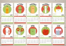 Free vector Fun school calendar with school items for each month #23620
