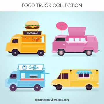 Free vector Fun set of lovely foo trucks #23850