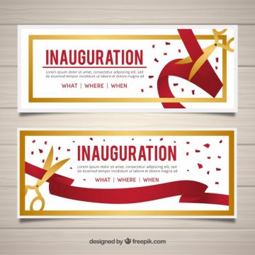 Free vector Grand opening banners with golden scissors #23458