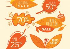 Free vector Hand drawn labels for autumn sale #23684
