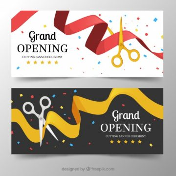 Free vector Inauguration party banners with scissors #23486