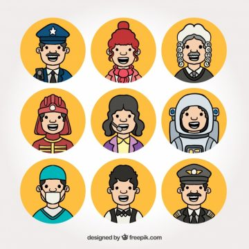 Free vector Jobs avatars with smiley faces #24321
