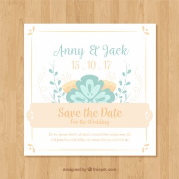 Free vector Lovely wedding invitation with flat design #23938