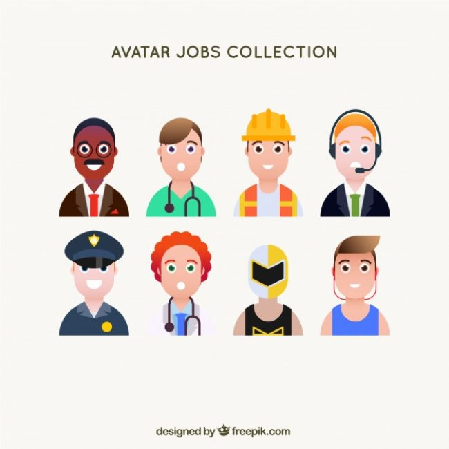 Free vector Male set of smiley jobs avatars #24421