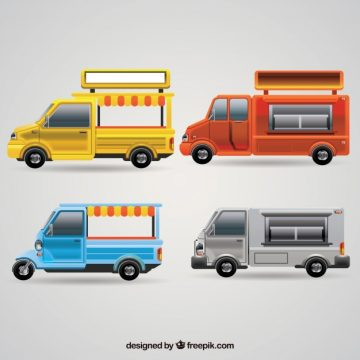 Free vector Modern food trucks with realistic style #23806