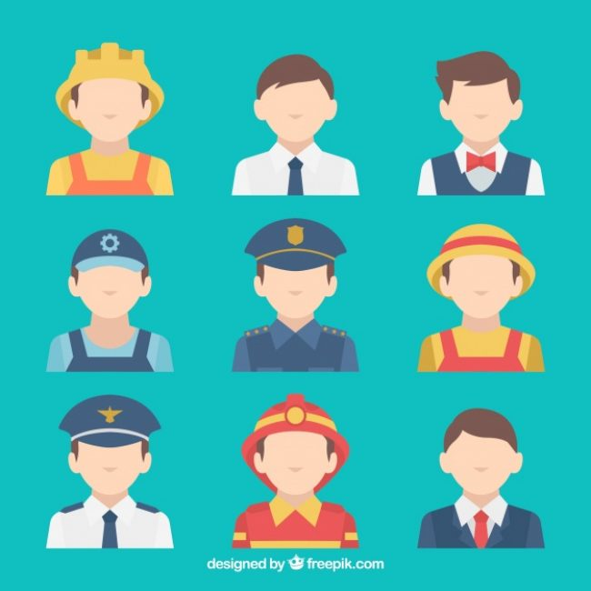 Free vector Modern set of male jobs avatars #24395