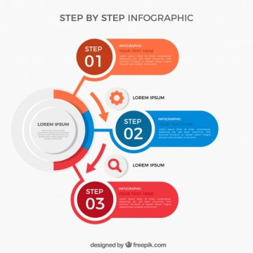 Free vector Modern step infographic with flat design #24168