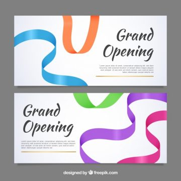 Free vector Opening banners with colorful ribons #23468
