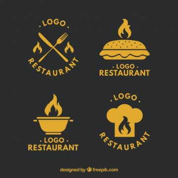 Free vector Retro restaurant logos set #24212