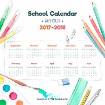 Free vector School calendar with watercolor materials #24419