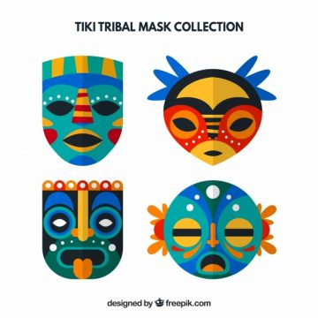 Free vector Set of decorative tiki masks in flat design #24224