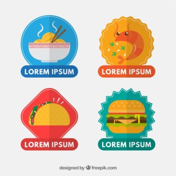 Free vector Set of food stickers in flat design #24214