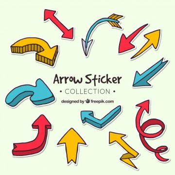 Free vector Set of hand drawn arrow stickers #24325