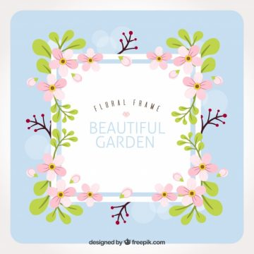 Free vector Square floral frame with cute flowers #24070