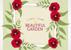 Free vector Square floral frame with cute red flowers #24024