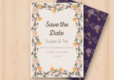 Free vector Watercolor wedding invitation with floral frame #23932