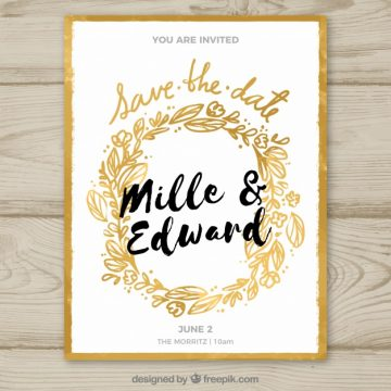 Free vector Wedding invitation with golden floral frame #23934