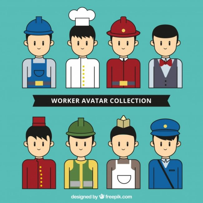 Free vector Worker avatar collection with hand drawn style #24429