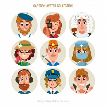 Free vector Workers avatars with cartoon style #24256