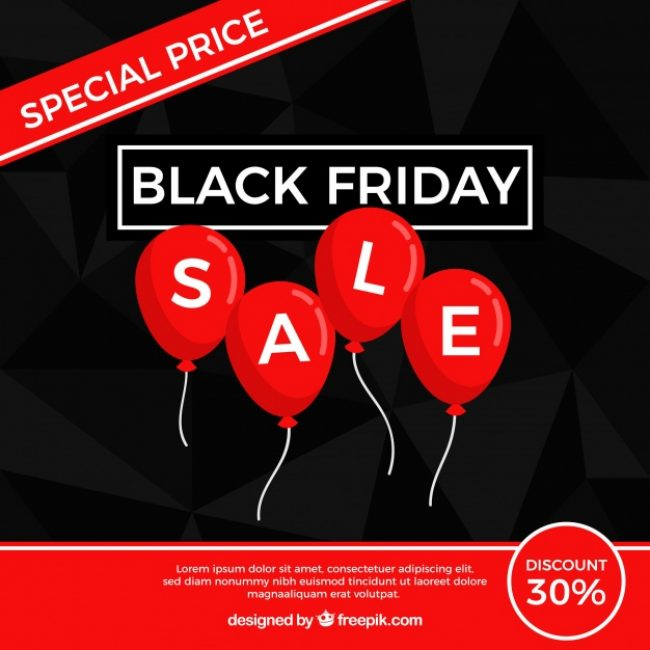 Free vector Black friday design with flat balloons #24449