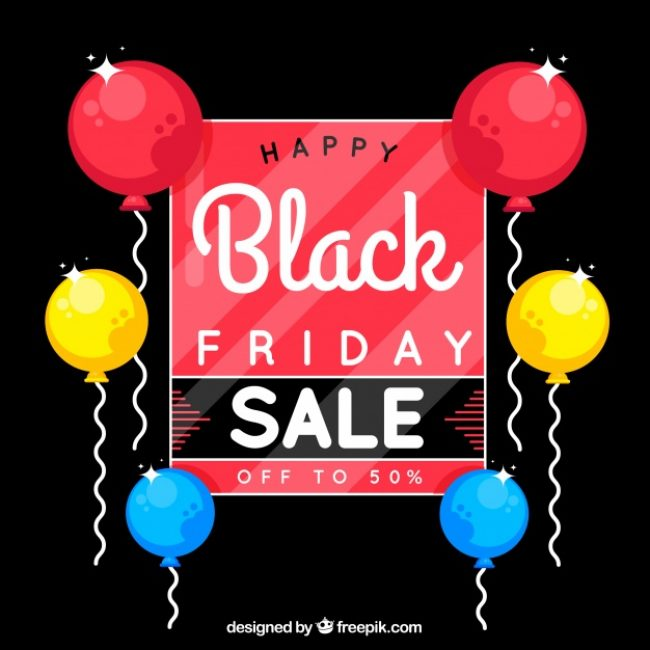 Free vector Colorful black friday design with balloons #24454